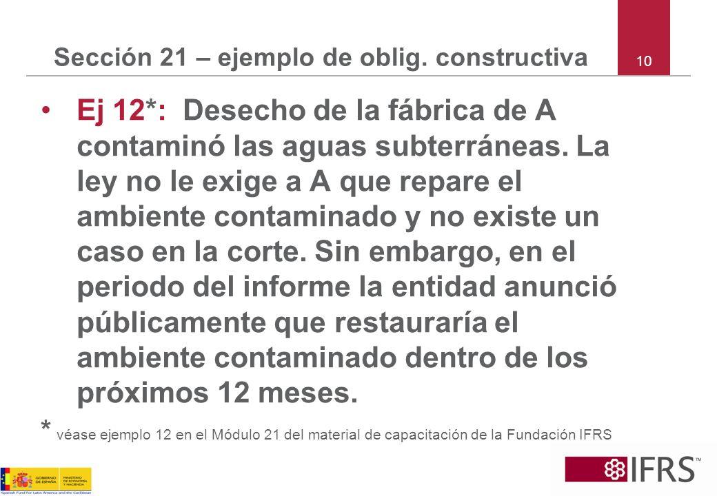10 Sección 21 – ejemplo de oblig. constructiva Ej 12*: Desecho de la fábrica de A contaminó las aguas subterráneas. La ley no le exige a A que repare