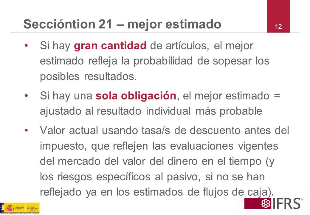 12 Seccióntion 21 – mejor estimado Si hay gran cantidad de artículos, el mejor estimado refleja la probabilidad de sopesar los posibles resultados. Si