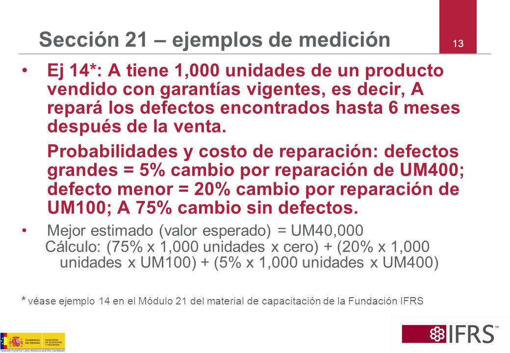 13 Sección 21 – ejemplos de medición Ej 14*: A tiene 1,000 unidades de un producto vendido con garantías vigentes, es decir, A repará los defectos enc