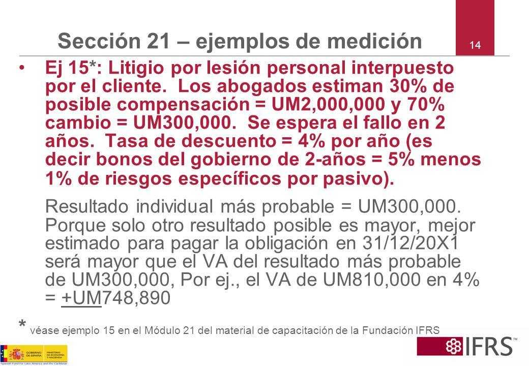 14 Sección 21 – ejemplos de medición Ej 15*: Litigio por lesión personal interpuesto por el cliente. Los abogados estiman 30% de posible compensación