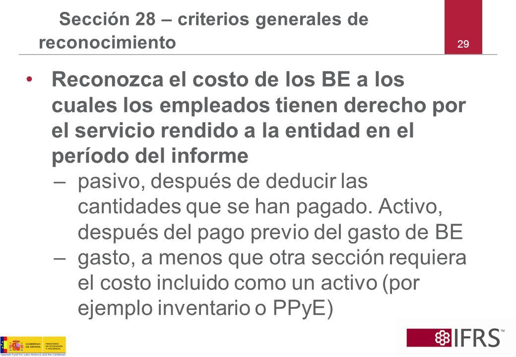 29 Sección 28 – criterios generales de reconocimiento Reconozca el costo de los BE a los cuales los empleados tienen derecho por el servicio rendido a