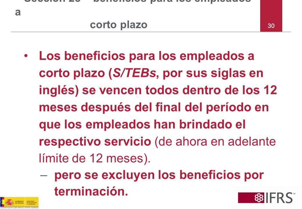 30 Sección 28 – beneficios para los empleados a corto plazo Los beneficios para los empleados a corto plazo (S/TEBs, por sus siglas en inglés) se venc