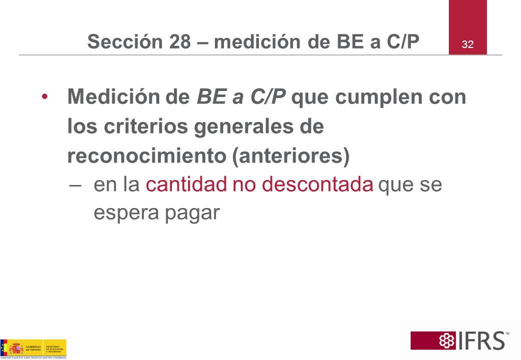 32 Sección 28 – medición de BE a C/P Medición de BE a C/P que cumplen con los criterios generales de reconocimiento (anteriores) –en la cantidad no de