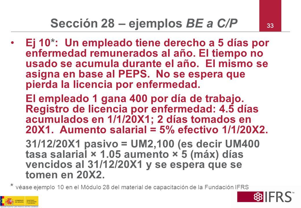 33 Sección 28 – ejemplos BE a C/P Ej 10*: Un empleado tiene derecho a 5 días por enfermedad remunerados al año. El tiempo no usado se acumula durante