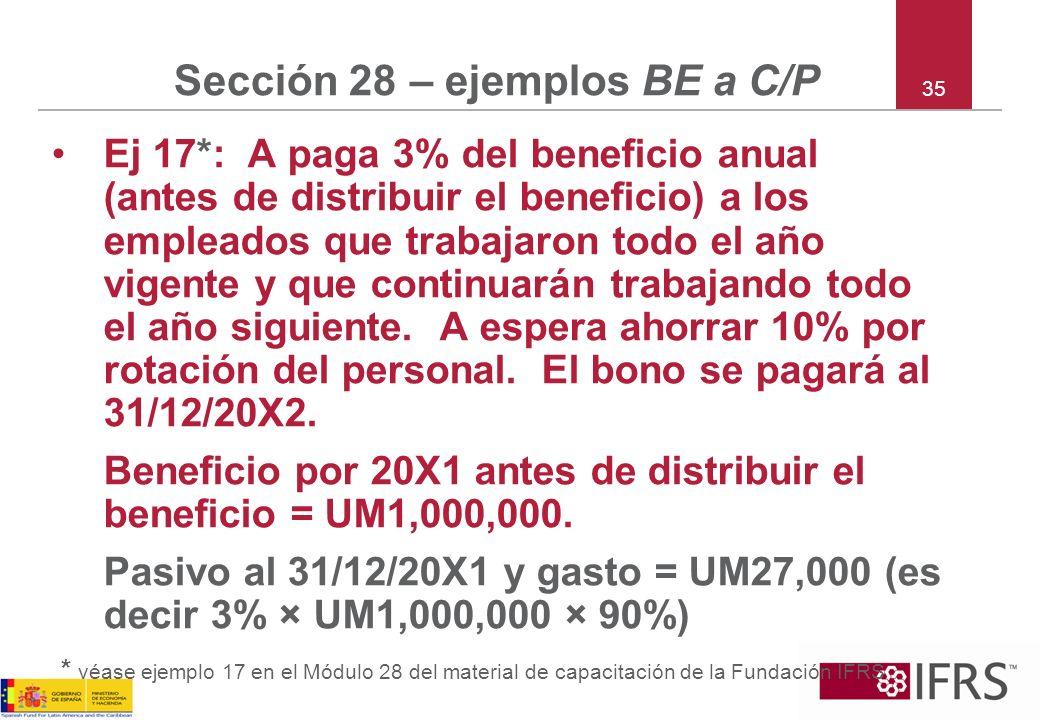 35 Sección 28 – ejemplos BE a C/P Ej 17*: A paga 3% del beneficio anual (antes de distribuir el beneficio) a los empleados que trabajaron todo el año