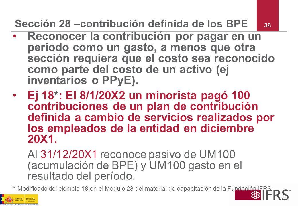 38 Sección 28 –contribución definida de los BPE Reconocer la contribución por pagar en un período como un gasto, a menos que otra sección requiera que