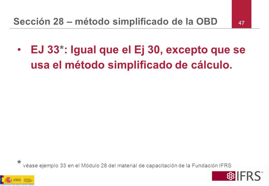 47 Sección 28 – método simplificado de la OBD EJ 33*: Igual que el Ej 30, excepto que se usa el método simplificado de cálculo. * véase ejemplo 33 en