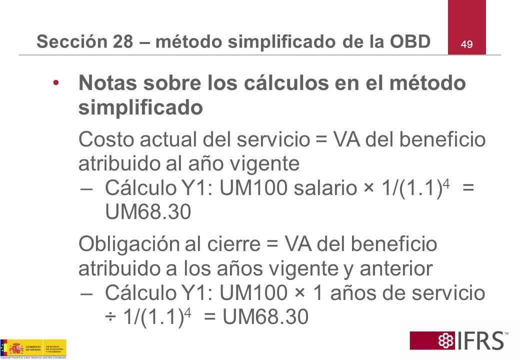 49 Sección 28 – método simplificado de la OBD Notas sobre los cálculos en el método simplificado Costo actual del servicio = VA del beneficio atribuid