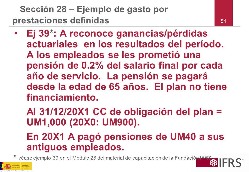 51 Sección 28 – Ejemplo de gasto por prestaciones definidas Ej 39*: A reconoce ganancias/pérdidas actuariales en los resultados del período. A los emp