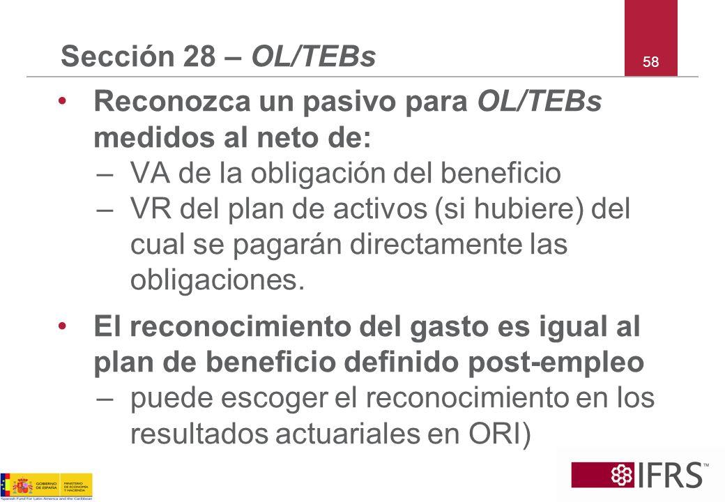 58 Sección 28 – OL/TEBs Reconozca un pasivo para OL/TEBs medidos al neto de: –VA de la obligación del beneficio –VR del plan de activos (si hubiere) d