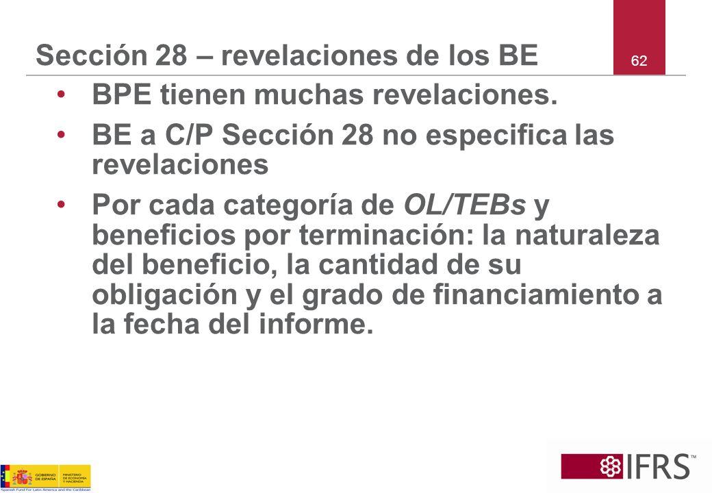 62 Sección 28 – revelaciones de los BE BPE tienen muchas revelaciones. BE a C/P Sección 28 no especifica las revelaciones Por cada categoría de OL/TEB
