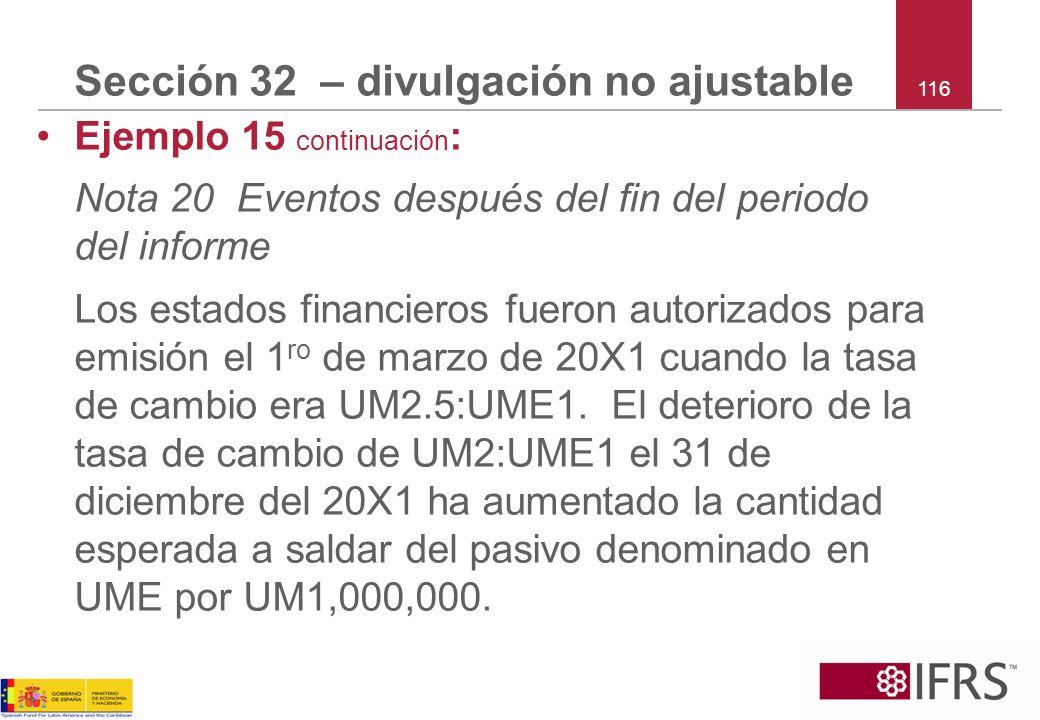 116 Sección 32 – divulgación no ajustable Ejemplo 15 continuación : Nota 20 Eventos después del fin del periodo del informe Los estados financieros fu