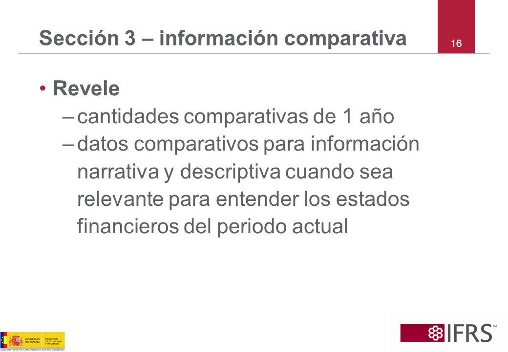 Sección 3 – información comparativa 16 Revele –cantidades comparativas de 1 año –datos comparativos para información narrativa y descriptiva cuando se