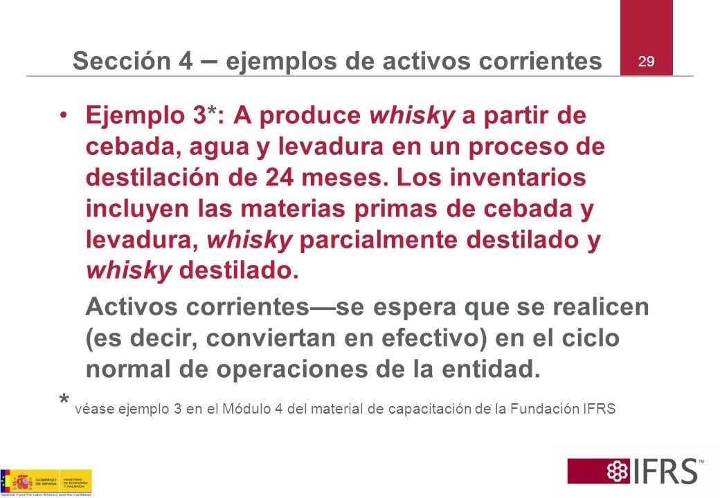29 Sección 4 – ejemplos de activos corrientes Ejemplo 3*: A produce whisky a partir de cebada, agua y levadura en un proceso de destilación de 24 mese