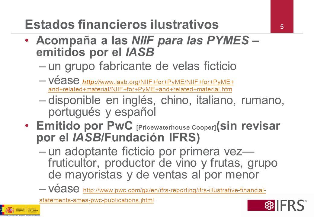 6 Lista de verificación de las revelaciones Acompaña a las NIIF para las PYMES – emitidos por el IASB –véase http://www.iasb.org/NIIF+for+PyME/NIIF+for+PyME+and +related+material/NIIF+for+PyME+and+related+material.
