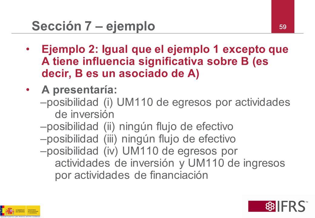 59 Sección 7 – ejemplo Ejemplo 2: Igual que el ejemplo 1 excepto que A tiene influencia significativa sobre B (es decir, B es un asociado de A) A pres