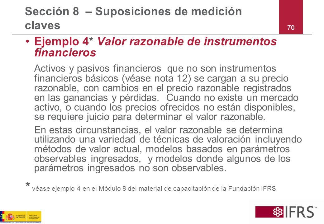 Ejemplo 4* Valor razonable de instrumentos financieros Activos y pasivos financieros que no son instrumentos financieros básicos (véase nota 12) se ca