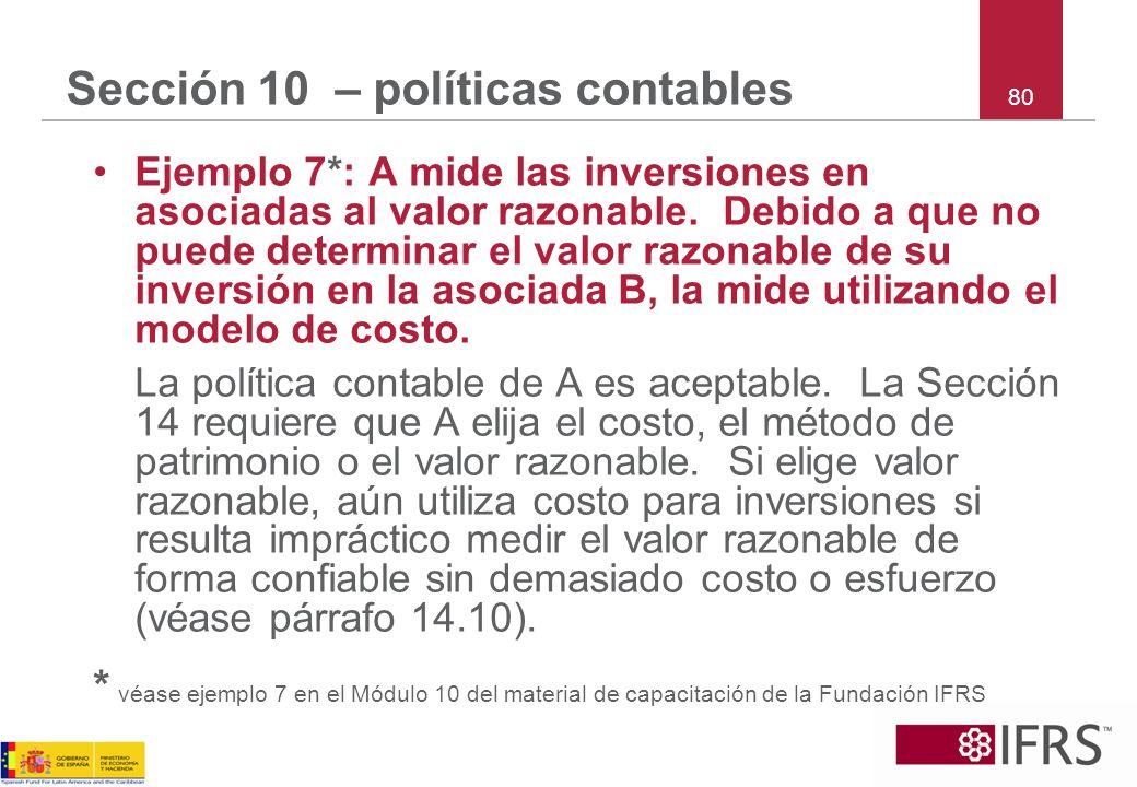 80 Sección 10 – políticas contables Ejemplo 7*: A mide las inversiones en asociadas al valor razonable. Debido a que no puede determinar el valor razo