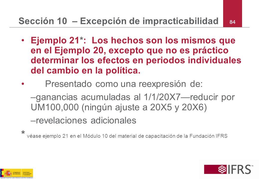 84 Sección 10 – Excepción de impracticabilidad Ejemplo 21*: Los hechos son los mismos que en el Ejemplo 20, excepto que no es práctico determinar los