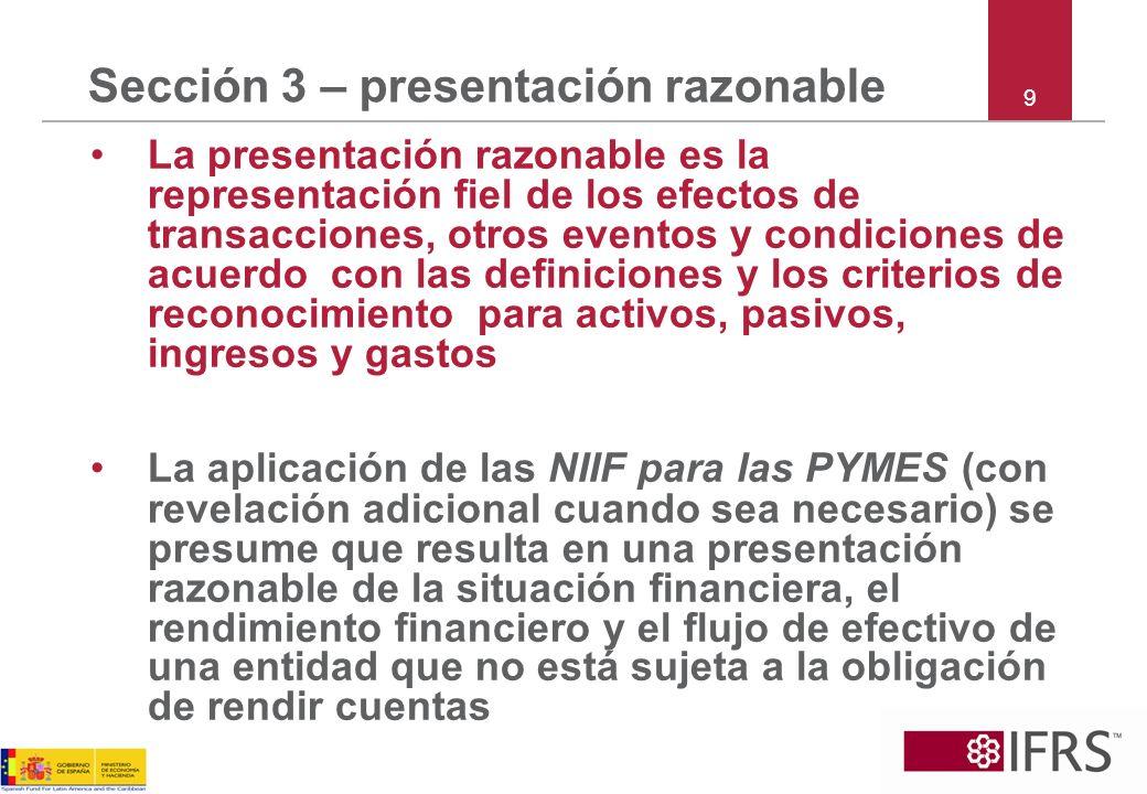Sección 3 – cumplimiento Una entidad cuyos estados financieros cumplen con las NIIF para las PYMES debe hacer una declaración explícita y sin reservas de dicho cumplimiento en las notas Los estados financieros no deberán ser descritos como que cumplen con las NIIF para las PYMES a menos que cumplan con todos los requisitos de las NIIF para las PYMES 10