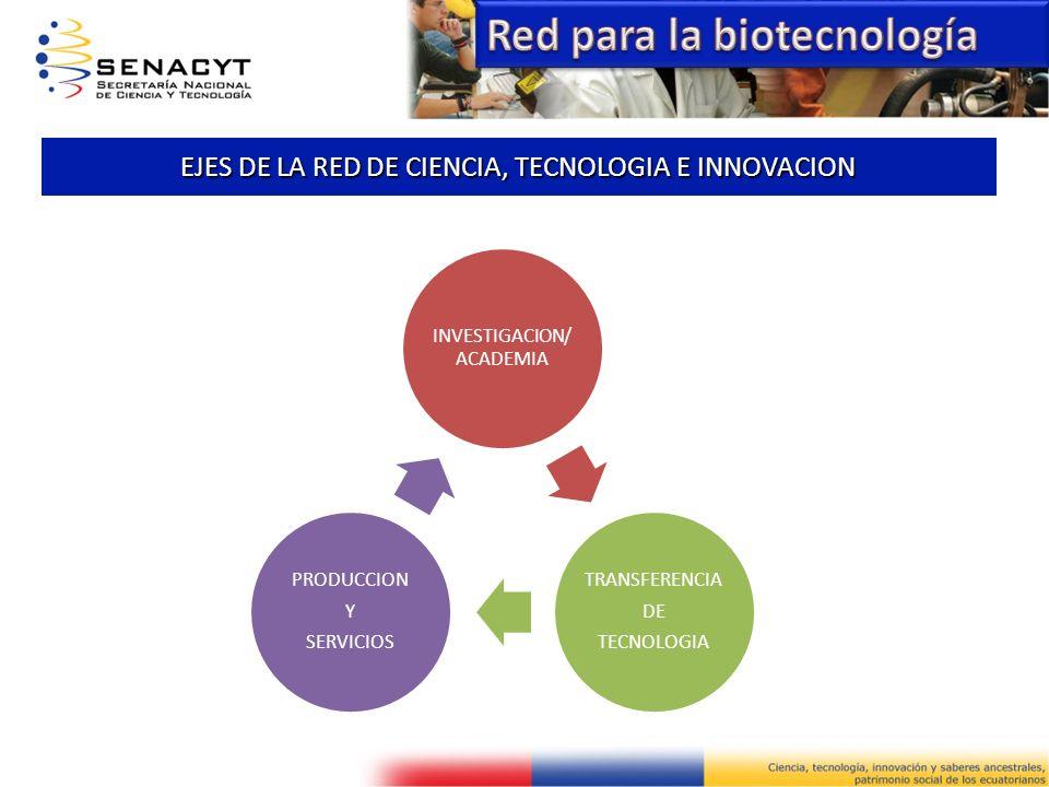 EJES DE LA RED DE CIENCIA, TECNOLOGIA E INNOVACION