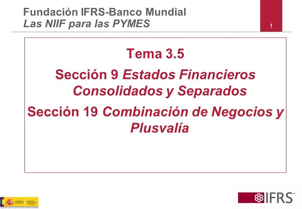 1 Tema 3.5 Sección 9 Estados Financieros Consolidados y Separados Sección 19 Combinación de Negocios y Plusvalía Fundación IFRS-Banco Mundial Las NIIF