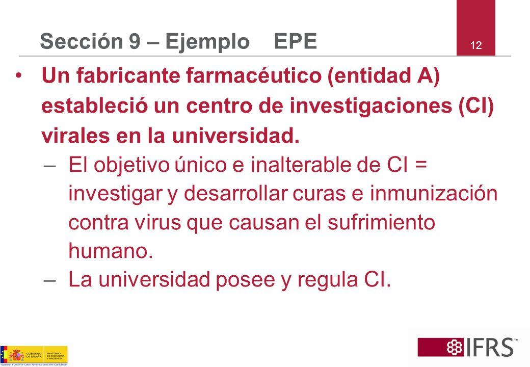 12 Sección 9 – Ejemplo EPE Un fabricante farmacéutico (entidad A) estableció un centro de investigaciones (CI) virales en la universidad. –El objetivo