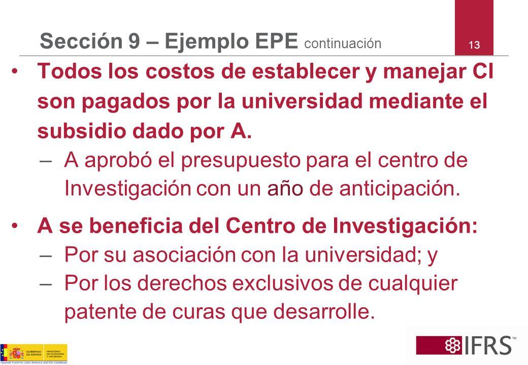 13 Sección 9 – Ejemplo EPE continuación Todos los costos de establecer y manejar CI son pagados por la universidad mediante el subsidio dado por A. –A