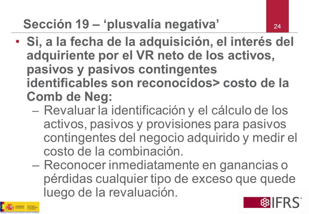 24 Sección 19 – plusvalía negativa Si, a la fecha de la adquisición, el interés del adquiriente por el VR neto de los activos, pasivos y pasivos conti