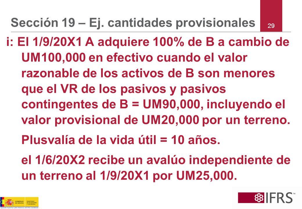 Sección 19 – Ej. cantidades provisionales i: El 1/9/20X1 A adquiere 100% de B a cambio de UM100,000 en efectivo cuando el valor razonable de los activ