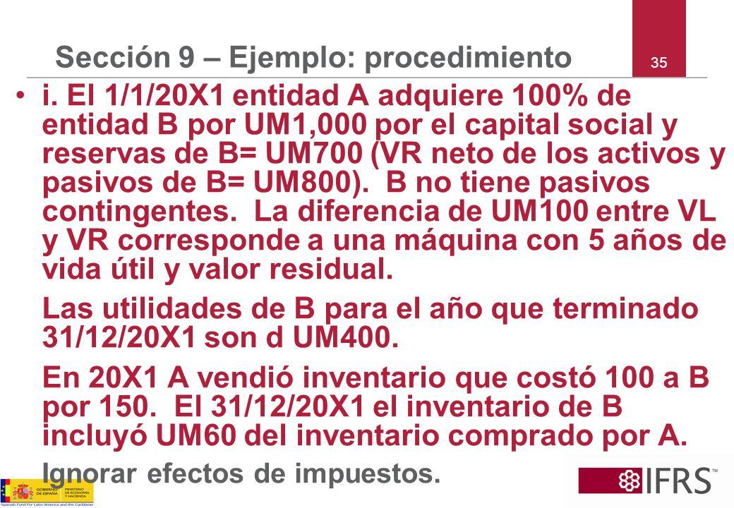 35 Sección 9 – Ejemplo: procedimiento i. El 1/1/20X1 entidad A adquiere 100% de entidad B por UM1,000 por el capital social y reservas de B= UM700 (VR