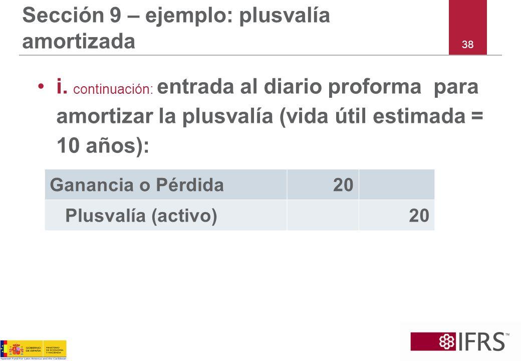 38 Sección 9 – ejemplo: plusvalía amortizada i. continuación: entrada al diario proforma para amortizar la plusvalía (vida útil estimada = 10 años): G