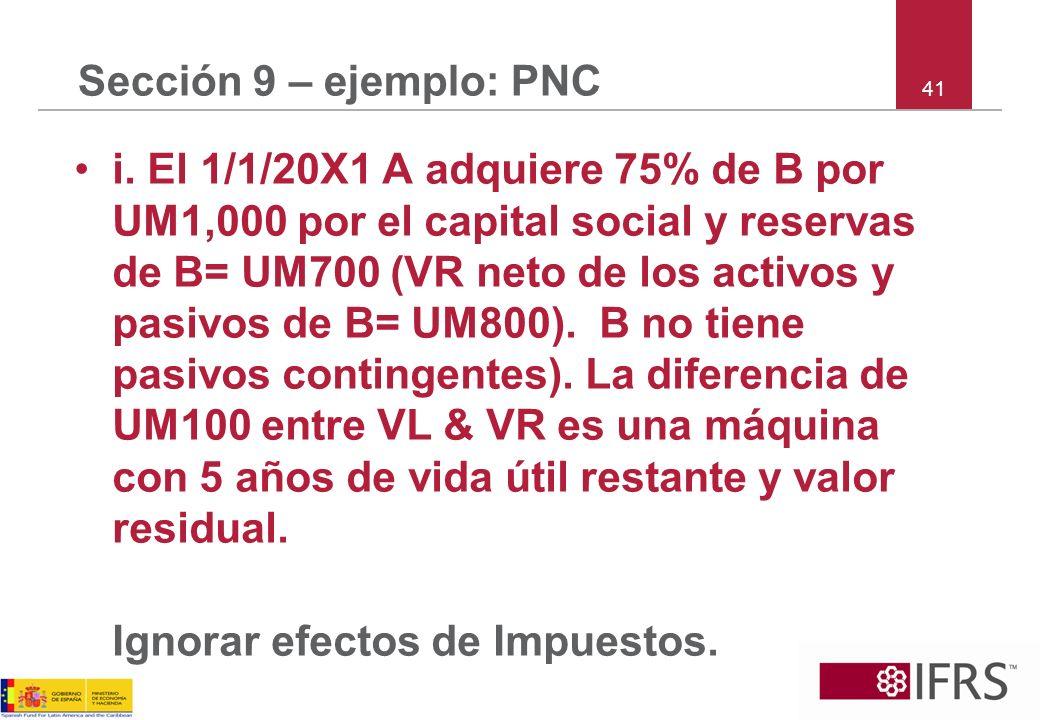 41 Sección 9 – ejemplo: PNC i. El 1/1/20X1 A adquiere 75% de B por UM1,000 por el capital social y reservas de B= UM700 (VR neto de los activos y pasi