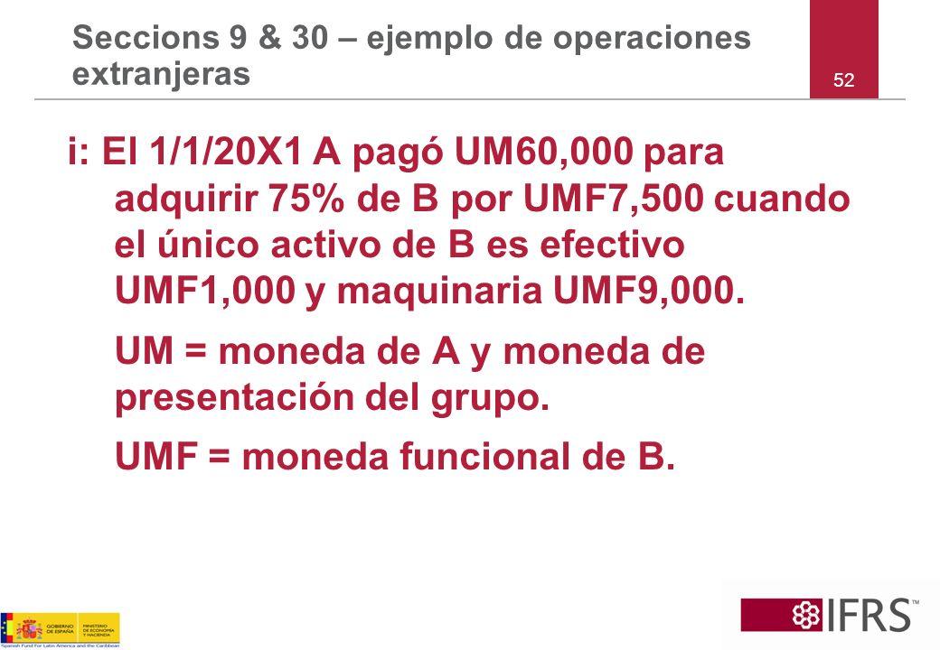 Seccions 9 & 30 – ejemplo de operaciones extranjeras i: El 1/1/20X1 A pagó UM60,000 para adquirir 75% de B por UMF7,500 cuando el único activo de B es