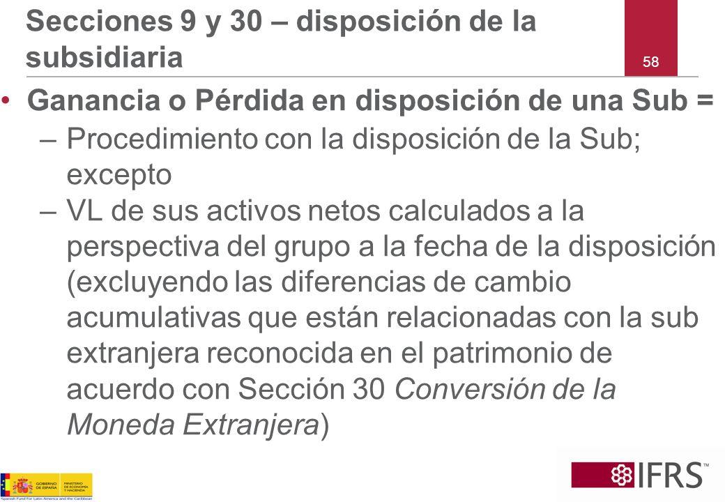 58 Secciones 9 y 30 – disposición de la subsidiaria Ganancia o Pérdida en disposición de una Sub = –Procedimiento con la disposición de la Sub; except