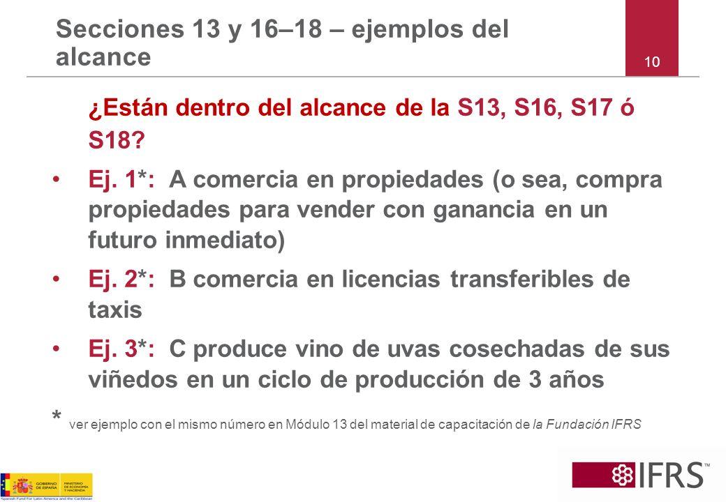Secciones 13 y 16–18 – ejemplos del alcance ¿Están dentro del alcance de la S13, S16, S17 ó S18? Ej. 1*: A comercia en propiedades (o sea, compra prop