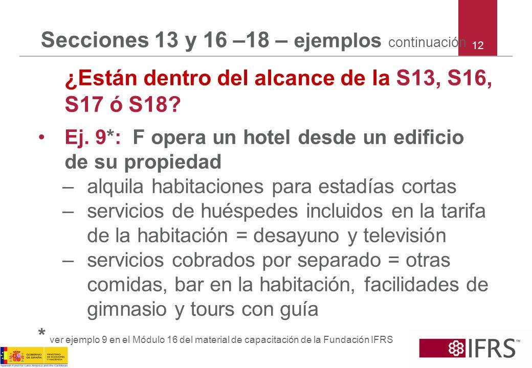 Secciones 13 y 16 –18 – ejemplos continuación ¿Están dentro del alcance de la S13, S16, S17 ó S18? Ej. 9*: F opera un hotel desde un edificio de su pr
