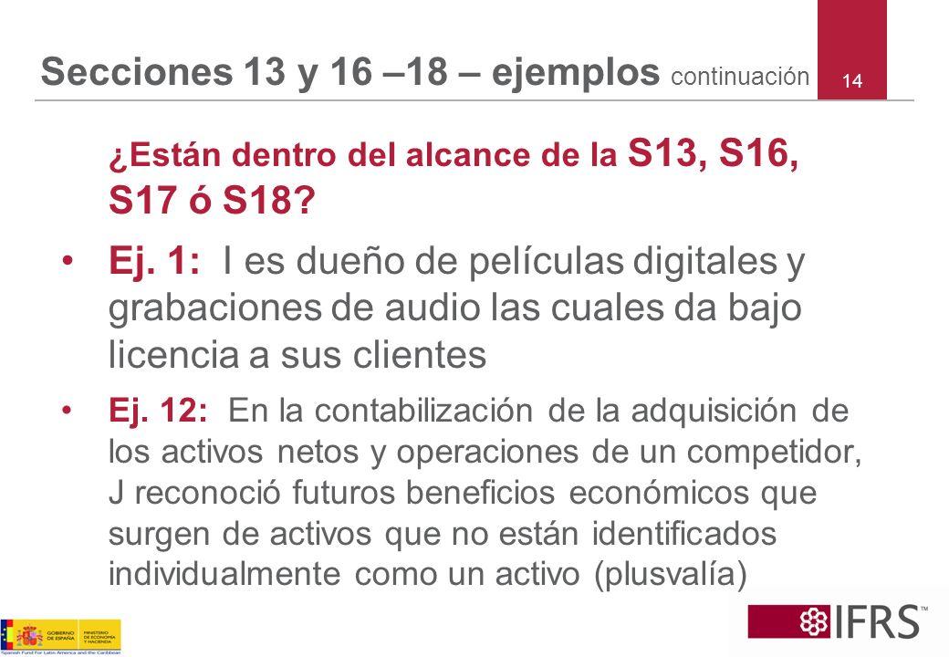 Secciones 13 y 16 –18 – ejemplos continuación ¿Están dentro del alcance de la S13, S16, S17 ó S18? Ej. 1: I es dueño de películas digitales y grabacio