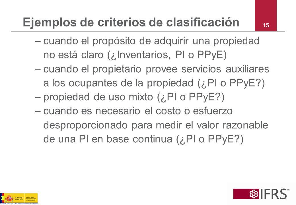Ejemplos de criterios de clasificación –cuando el propósito de adquirir una propiedad no está claro (¿Inventarios, PI o PPyE) –cuando el propietario p