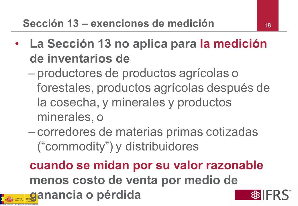 Sección 13 – exenciones de medición La Sección 13 no aplica para la medición de inventarios de –productores de productos agrícolas o forestales, produ