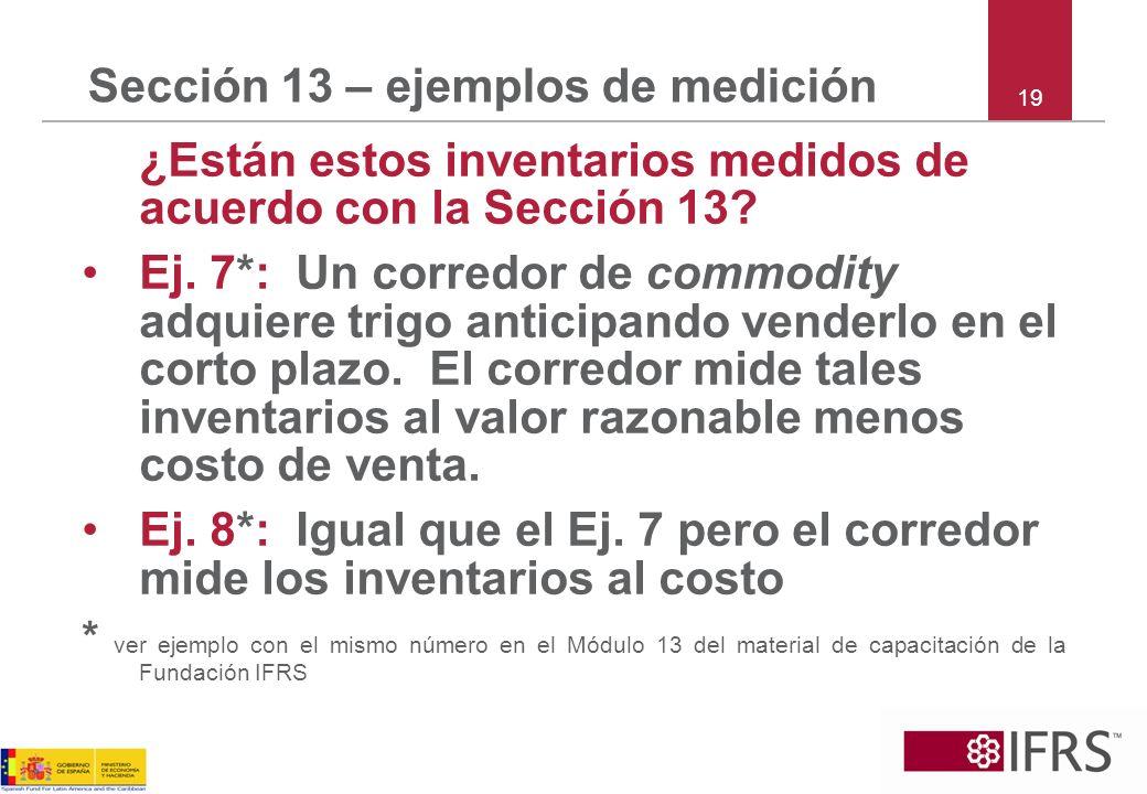 Sección 13 – ejemplos de medición ¿Están estos inventarios medidos de acuerdo con la Sección 13? Ej. 7*: Un corredor de commodity adquiere trigo antic