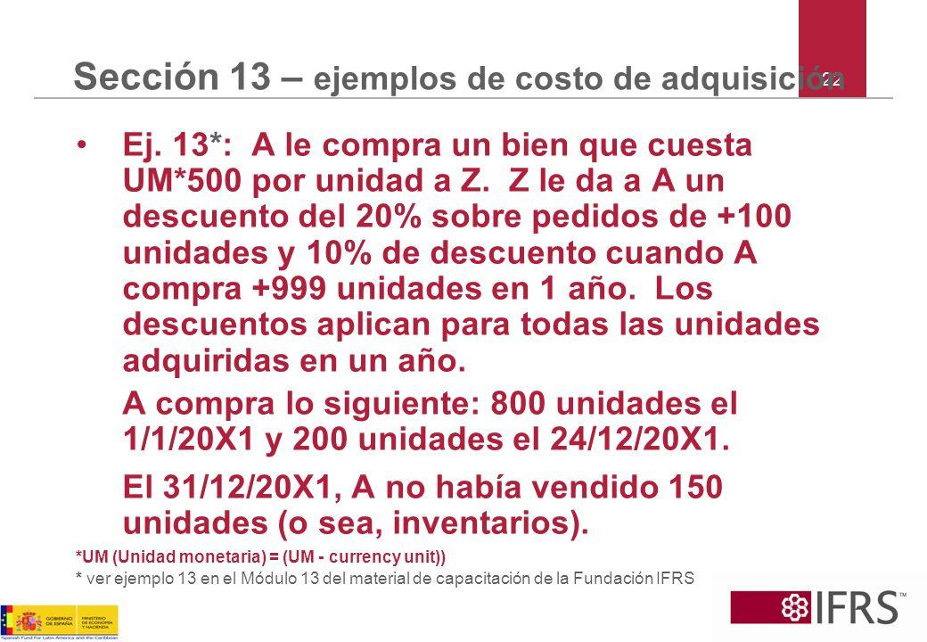 22 Sección 13 – ejemplos de costo de adquisición Ej. 13*: A le compra un bien que cuesta UM*500 por unidad a Z. Z le da a A un descuento del 20% sobre