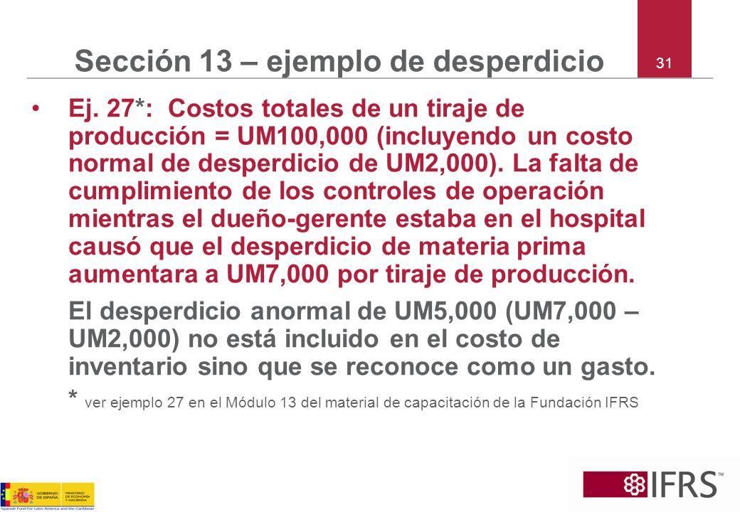31 Sección 13 – ejemplo de desperdicio Ej. 27*: Costos totales de un tiraje de producción = UM100,000 (incluyendo un costo normal de desperdicio de UM
