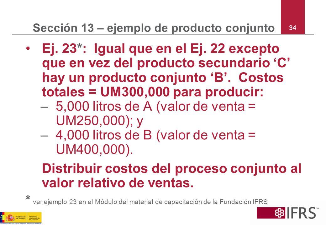 34 Sección 13 – ejemplo de producto conjunto Ej. 23*: Igual que en el Ej. 22 excepto que en vez del producto secundario C hay un producto conjunto B.
