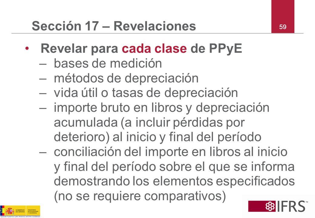 59 Sección 17 – Revelaciones Revelar para cada clase de PPyE –bases de medición –métodos de depreciación –vida útil o tasas de depreciación –importe b