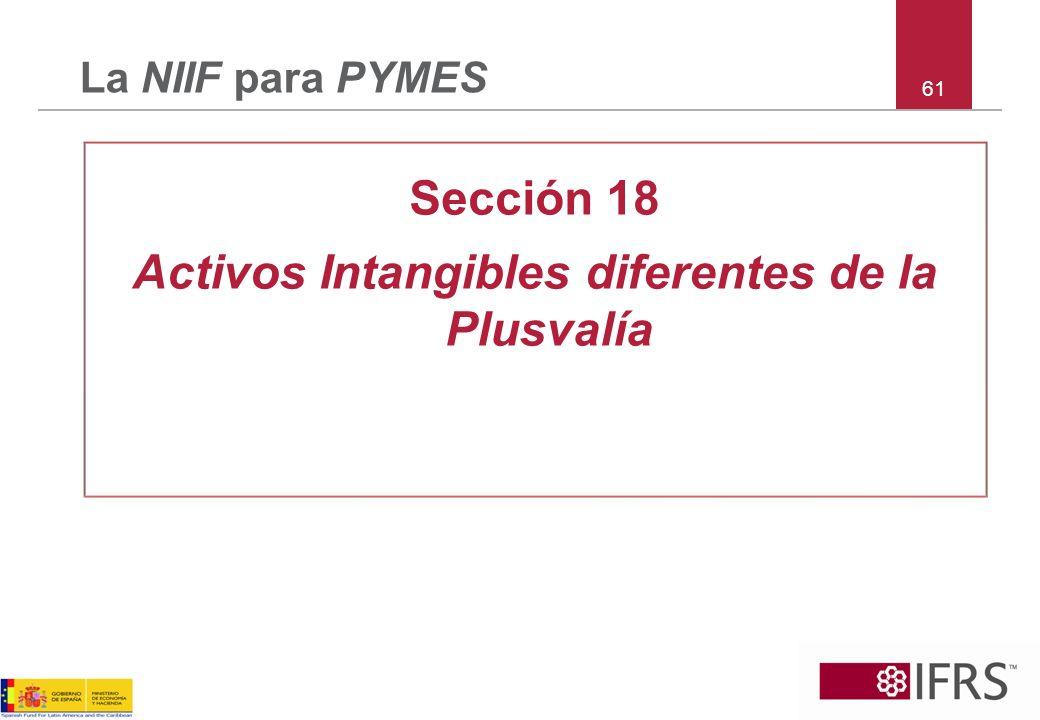 61 La NIIF para PYMES Sección 18 Activos Intangibles diferentes de la Plusvalía