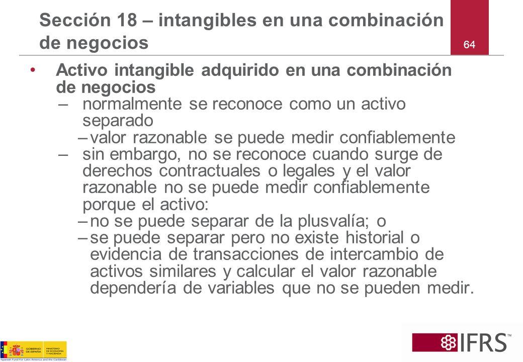 64 Sección 18 – intangibles en una combinación de negocios Activo intangible adquirido en una combinación de negocios –normalmente se reconoce como un