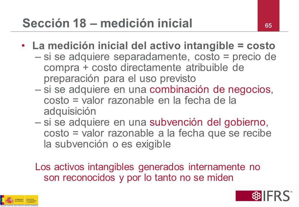 65 Sección 18 – medición inicial La medición inicial del activo intangible = costo –si se adquiere separadamente, costo = precio de compra + costo dir