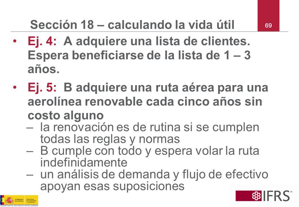 69 Sección 18 – calculando la vida útil Ej. 4: A adquiere una lista de clientes. Espera beneficiarse de la lista de 1 – 3 años. Ej. 5: B adquiere una