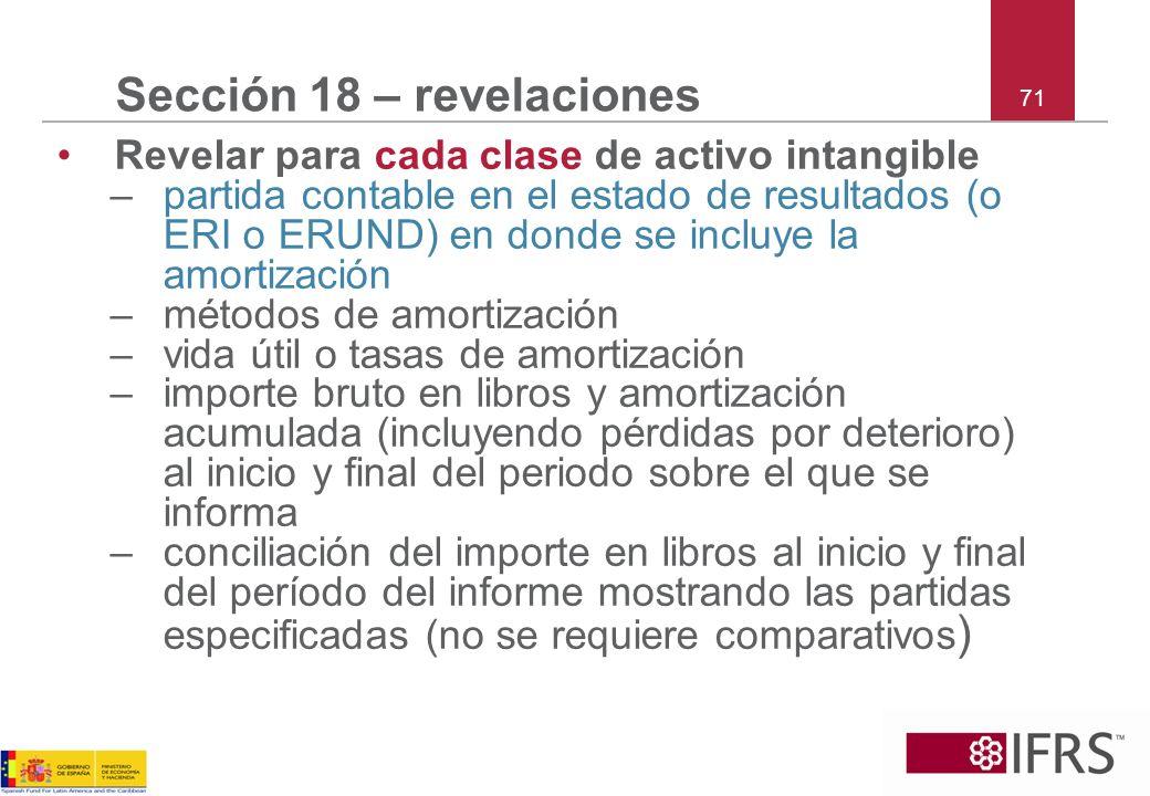 71 Sección 18 – revelaciones Revelar para cada clase de activo intangible –partida contable en el estado de resultados (o ERI o ERUND) en donde se inc